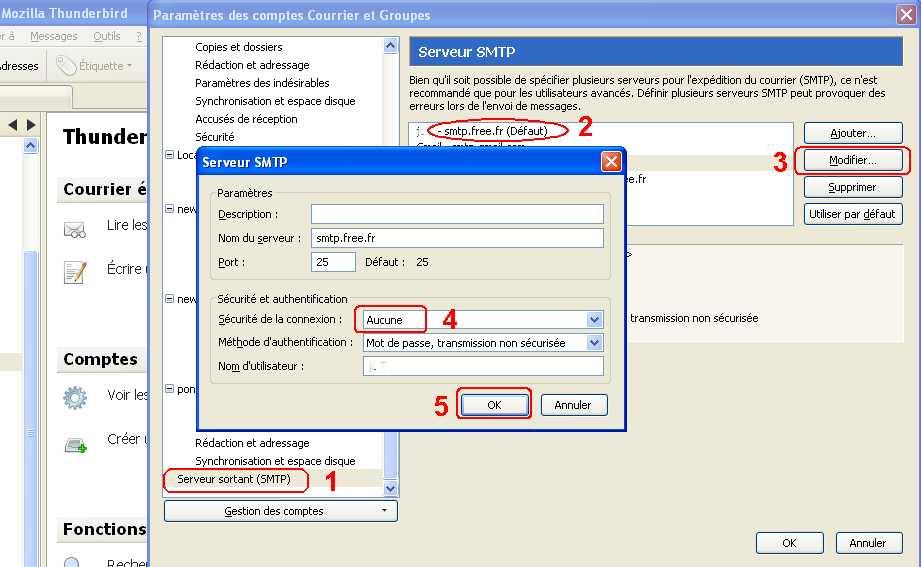 configurer le smtp  authentifi u00e9 ou non  de free fr et autres informations messagerie    r u00e9aliser